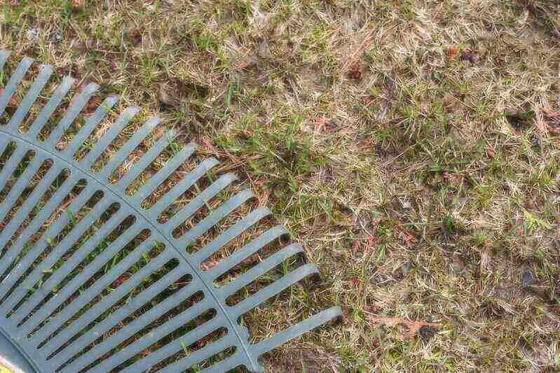 rake on spotty, dry grass