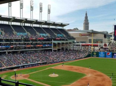 Aerial view of the Cleveland Indians baseball stadium during a game
