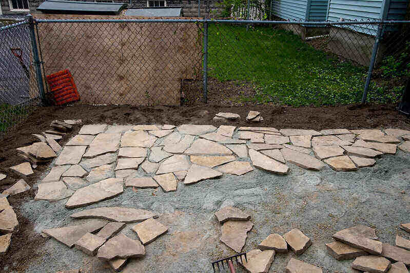 construction of a stone patio