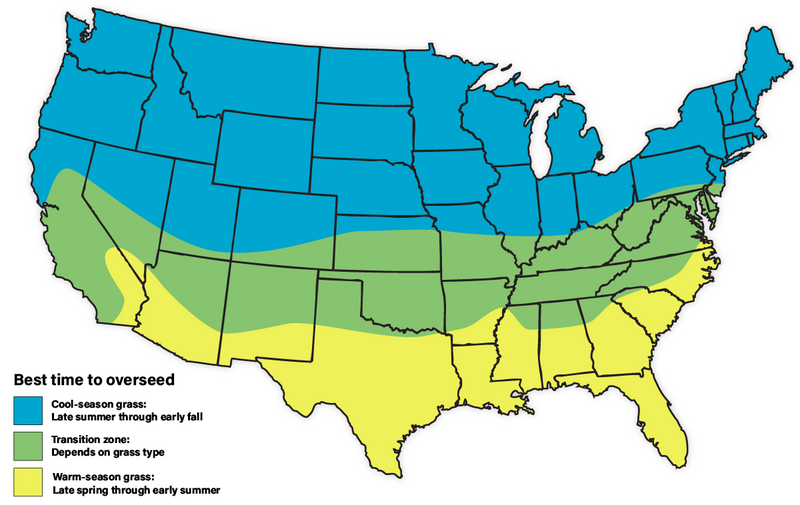 infographic showing the best time for overseeding on the US map,