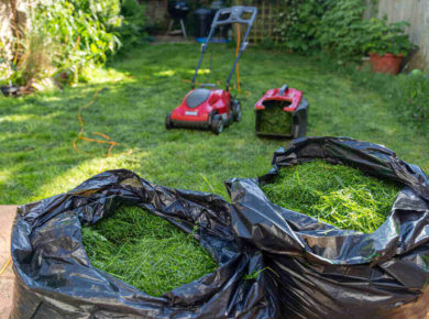grass clippings in two trash bags, with a lawn mower and attachment in the background